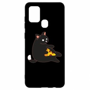 Etui na Samsung A21s Cat with pizza