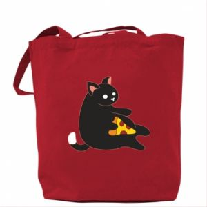 Bag Cat with pizza