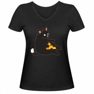 Damska koszulka V-neck Cat with pizza