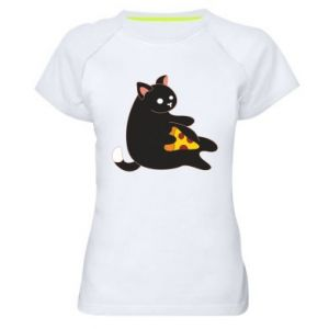 Women's sports t-shirt Cat with pizza