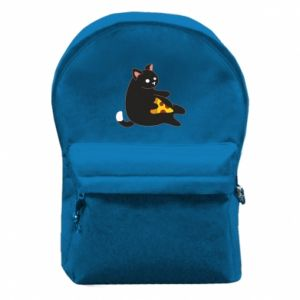 Backpack with front pocket Cat with pizza
