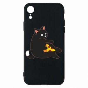 Phone case for iPhone XR Cat with pizza