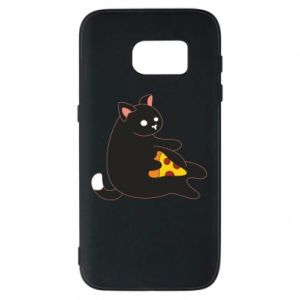 Phone case for Samsung S7 Cat with pizza