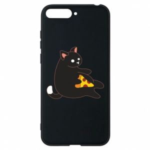 Phone case for Huawei Y6 2018 Cat with pizza