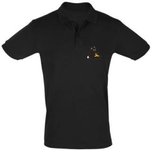 Men's Polo shirt Cat with pizza