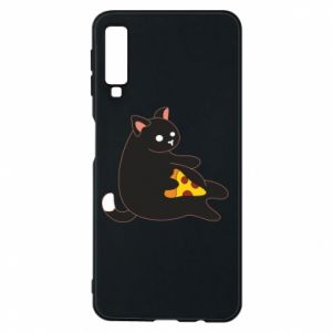 Phone case for Samsung A7 2018 Cat with pizza