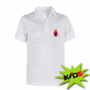 Children's Polo shirts Red cat in a sweater - PrintSalon