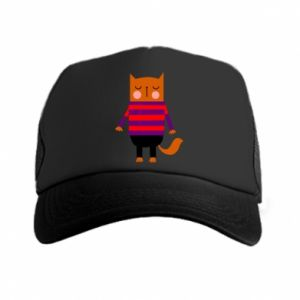 Trucker hat Red cat in a sweater - PrintSalon