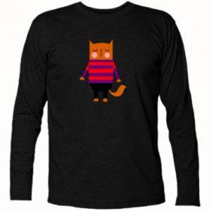 Long Sleeve T-shirt Red cat in a sweater - PrintSalon