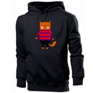 Men's hoodie Red cat in a sweater - PrintSalon