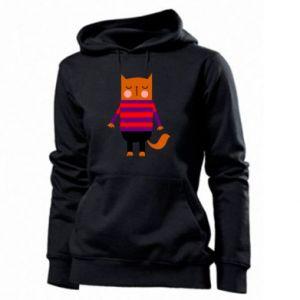 Women's hoodies Red cat in a sweater - PrintSalon
