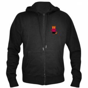 Men's zip up hoodie Red cat in a sweater - PrintSalon
