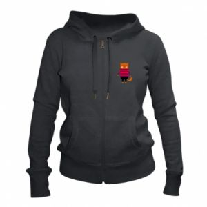 Women's zip up hoodies Red cat in a sweater - PrintSalon