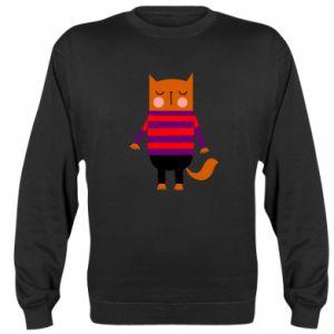 Sweatshirt Red cat in a sweater - PrintSalon