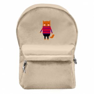 Backpack with front pocket Red cat in a sweater - PrintSalon