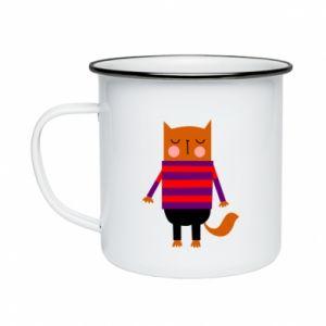 Enameled mug Red cat in a sweater - PrintSalon