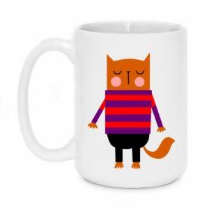 Mug 450ml Red cat in a sweater - PrintSalon