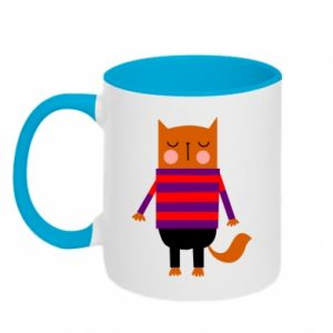 Two-toned mug Red cat in a sweater - PrintSalon