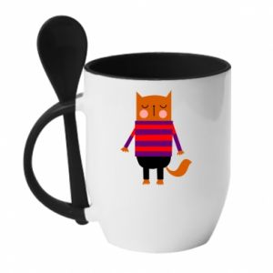 Mug with ceramic spoon Red cat in a sweater - PrintSalon