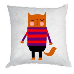 Pillow Red cat in a sweater - PrintSalon