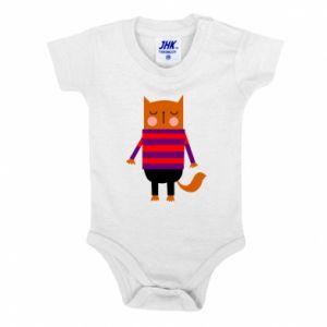 Baby bodysuit Red cat in a sweater - PrintSalon