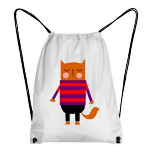 Backpack-bag Red cat in a sweater - PrintSalon