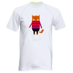 Men's sports t-shirt Red cat in a sweater - PrintSalon