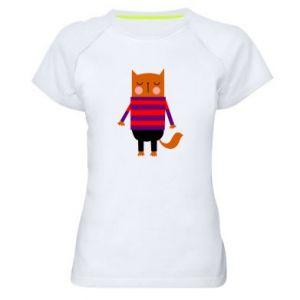 Women's sports t-shirt Red cat in a sweater - PrintSalon