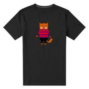 Men's premium t-shirt Red cat in a sweater - PrintSalon