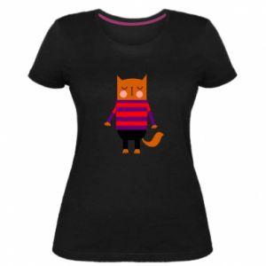 Women's premium t-shirt Red cat in a sweater - PrintSalon