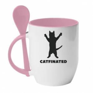 Kubek z ceramiczną łyżeczką Catfinated - PrintSalon