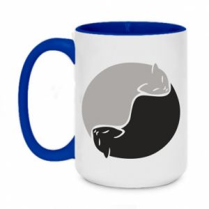 Kubek dwukolorowy 450ml Cats love black and white