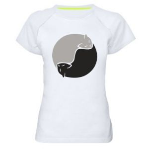 Koszulka sportowa damska Cats love black and white