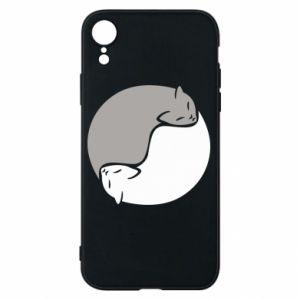 Etui na iPhone XR Cats love black and white