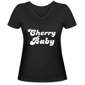 Damska koszulka V-neck Cherry baby
