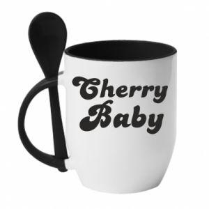 Kubek z ceramiczną łyżeczką Cherry baby