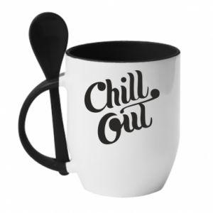 Kubek z ceramiczną łyżeczką Chill out