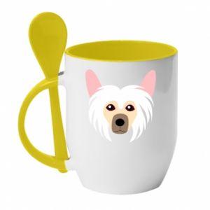 Mug with ceramic spoon Chinese Crested Dog - PrintSalon