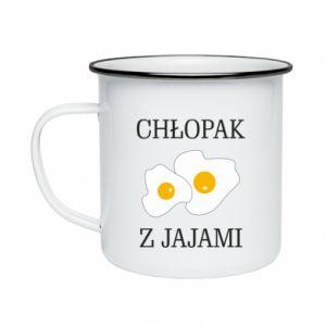 Kubek emaliowany Chlopak z jajami