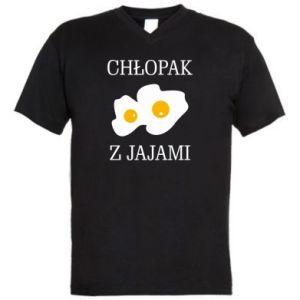 Męska koszulka V-neck Chlopak z jajami