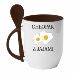 Kubek z ceramiczną łyżeczką Chlopak z jajami