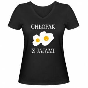 Damska koszulka V-neck Chlopak z jajami