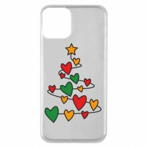 Phone case for iPhone 11 Christmas tree and a lot of hearts
