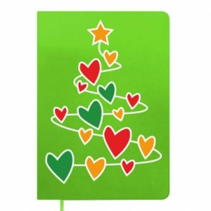 Notepad Christmas tree and a lot of hearts