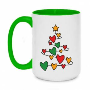 Two-toned mug 450ml Christmas tree and a lot of hearts