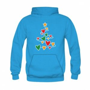 Kid's hoodie Christmas tree and a lot of hearts