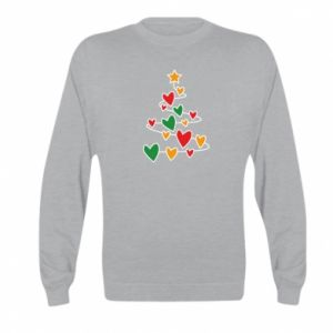 Kid's sweatshirt Christmas tree and a lot of hearts