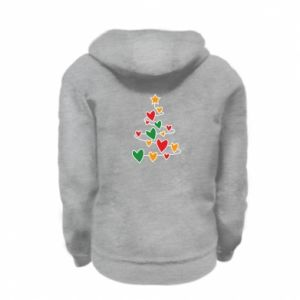 Kid's zipped hoodie % print% Christmas tree and a lot of hearts