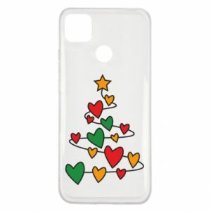 Xiaomi Redmi 9c Case Christmas tree and a lot of hearts