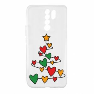 Xiaomi Redmi 9 Case Christmas tree and a lot of hearts